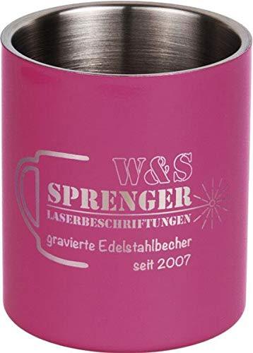 narrenbecher Personalisierbarer Becher Edelstahl   Gravur   Farbig   Camping   Karneval   Kinder   0,3 l   0,4 l (Telemagenta (Pink), 0,3 l)