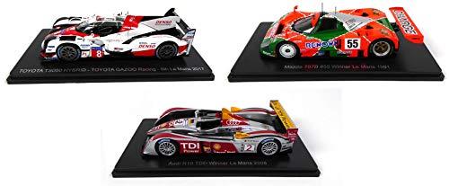 - Lotto di 3 Auto Le Mans Spark 1/43 per Hachette Japon: Toyota TS050 2017 + Mazda 787B 1991 + Audi R10 2008 (01 + 02 + 06)