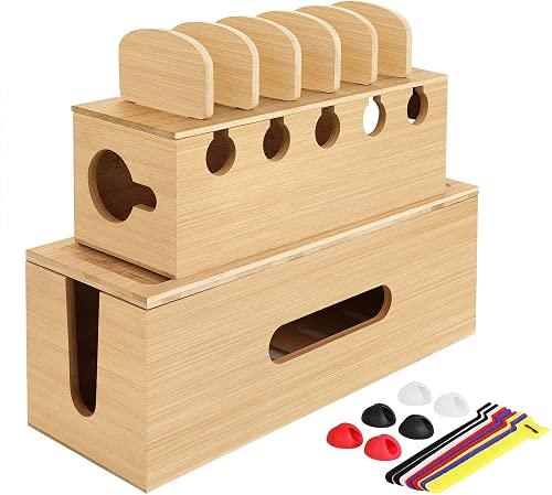 Caja para Cables, Bambú Caja Organizadora de Cables, Caja para Esconder Cables...