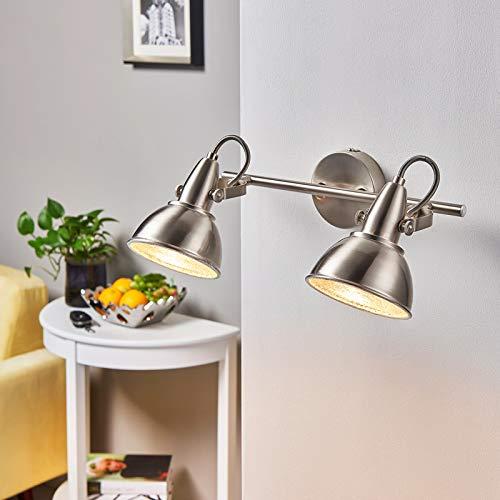Lindby Strahler 'Julin' dimmbar (Vintage, Industriell) in Alu aus Metall u.a. für Wohnzimmer & Esszimmer (2 flammig, E14, A++) - Deckenlampe, Deckenleuchte, Lampe, Spot, Wohnzimmerlampe