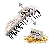 CHIARA AMBRA® Mini Bio Haarbürste mit Stroh, ohne Ziepen, Entwirrungsbürste, Einzigartige Detangler-Bürste mit Spiralfeder, Pocket Size, Ideal für unterwegs, Natur