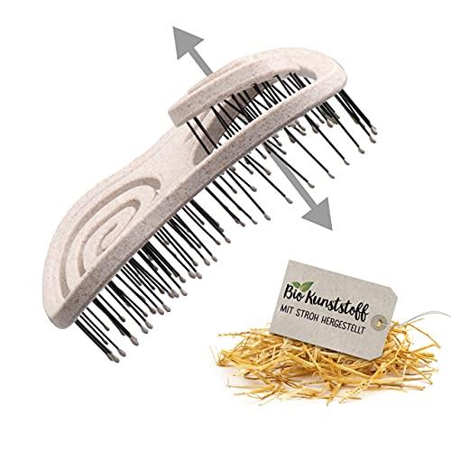 Chiara Ambra Haarbürste, Klimaneutrale Bio Haarbürste ohne Ziepen mit Stroh, Kopfmassage Haarbürste, Entwirrbürste gegen Haarausfall, Anti Frizz Bürste für gesunde Haare, Beige