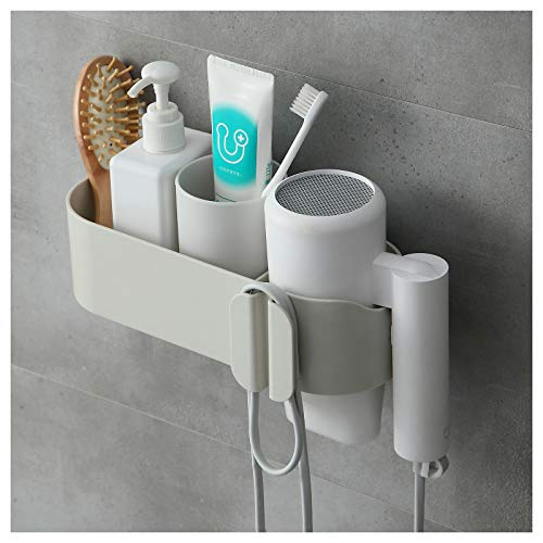 Magic Silk HomeMagic Soporte para Secador de Pelo, Soporte para Secador de Pelo de Pared, Secadora de Cabello con Dos Compartimentos, sin Perforación, Resistente al Agua, Adhesivo Fuerte (Gris2)