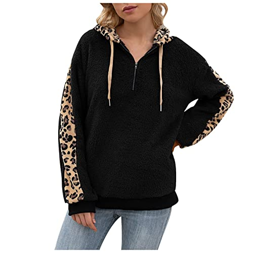 SZITOP Hoodie for Women Winter Warm Solid Fleece Sherpa Sweater Casual Fashion Long Sleeve Cowl Neck Coat Oversized Thick Plush Drawstring Hooded Tops Sweatshirt Pullover Outwear(D-Black,Small)