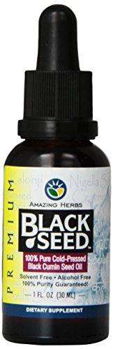 Amazing Herbs Premium Black Seed Oil - Cold Pressed Nigella Sativa Aids in Digestive Health, Immune Support, Brain Function, Joint Mobility, Gluten Free, Non GMO - 1 Fl Oz