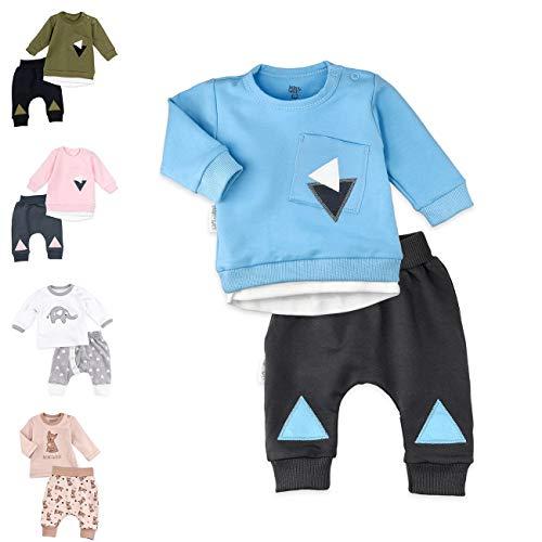 Baby Sweets Set Shirt Hose Jungen blau grau | Motiv: Triangle | Baby Outfit 2 Teile für Neugeborene & Kleinkinder | Größe: 0-3 Monate (62)…