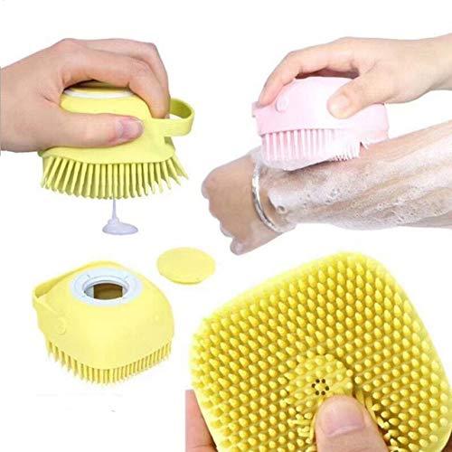 Spazzola da bagno in silicone con dispenser di sapone, spazzola per il corpo con shampoo, per tutti i tipi di capelli, massaggi, con dispenser per cani e gatti