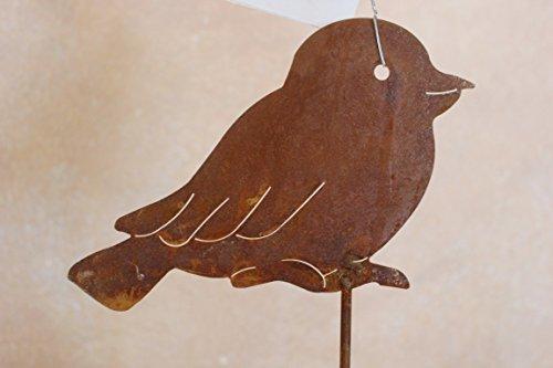 Oiseaux sur tige en métal (patine), hauteur totale 1,10 m, jardin Tige avec oiseaux