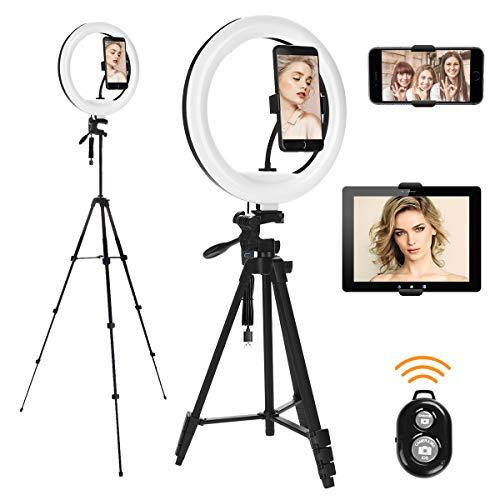 VIFLYKOO Anillo de luz con trípode, Iluminación LED para Trípode Control Remoto Bluetooth 3 Modos de Iluminación 10 Niveles de Brillo Anillo de Luz para Tableta, Teléfono, Video y Selfie