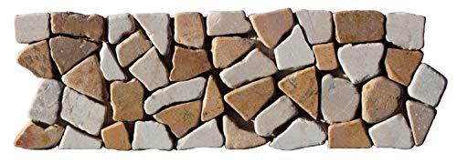 BO-338 Marmor Bordüre Mosaikfliesen Bruchstein Naturstein Fliesen Lager Verkauf Stein-mosaik Herne NRW Wand-Design