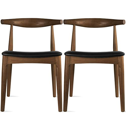 2xhome Contemporary Farmhouse Real Solid Wood PU Leather Cushion Seat Mid Century Modern Dining Chairs Desk Armless No Arm Elbow Side Chair Hans Wegner for Living Room Bedroom Kitchen (Espresso X2)