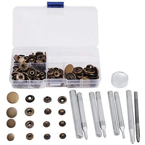 Acogedor 40 sets drukknopen drukknopsluiting kit, drukknopen drukknop met bevestigingsgereedschap voor breijassen, lederwerk, gehaakte poppen, jeans, boot afdekking meubels enz.