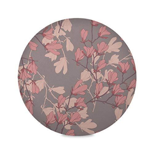 QIAOLII Set von 4 runden Matten für Küchentisch Schöne Magnolien-Blumenmatte für Küchentisch Anti-Rutsch-Tischsets 15,4 Zoll Leicht zu reinigen für Küche Esstisch Holiday Party