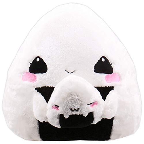 moodrush® Onigiri Kissen/Onigiri Plüsch | Onigiri Girl mit Baby Onigiri | Das ultimiative Japan-Kissen! | alle Elemente aufgestickt (Nicht Bedruckt!) | waschbar | ca. 36x36 cm