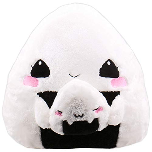 moodrush® Onigiri Kissen/Onigiri Plüsch   Onigiri Girl mit Baby Onigiri   Das ultimiative Japan-Kissen!   alle Elemente aufgestickt (Nicht Bedruckt!)   waschbar   ca. 36x36 cm