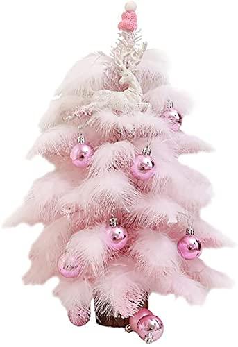 Mini Albero di Natale Artificiale di 18 Pollici, Albero di Natale del Tavolo Blu con GUIDATO String Lights & Decoration Kit per Tavolo Top Desk Xmas Decorazione Vacanze (Color : Pink, Size : 60cm)