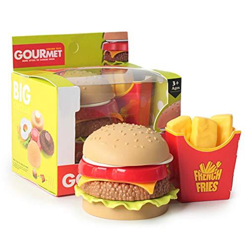 Pretender jugar juguete, Jugar Food Kitchen Toy, hamburguesa y papas fritas - Juego de simulación para niños Jugar Food Kitchen Toy Burger Jugar Juego de comida, pretender Jugar Ensamblado de juguete