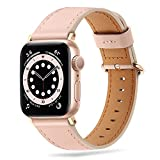 Tasikar Compatibile per Cinturino Apple Watch 38mm 40mm, Cinturin in Vera Pelle Compatibile con iWatch SE Series 6 5 4 3 2 1 - (Rosa + Adattatore Rose Gold)