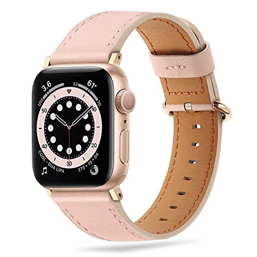 Tasikar Compatibile per Cinturino Apple Watch 44mm 42mm, Cinturin in Vera Pelle Compatibile con iWatch SE Series 6 5 4 3 2 1 - (Rosa + Adattatore Rose Gold)
