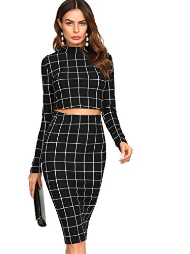 MakeMeChic Women's Long Sleeve Crop Top Bodycon Midi Skirt 2 Piece Set Black L