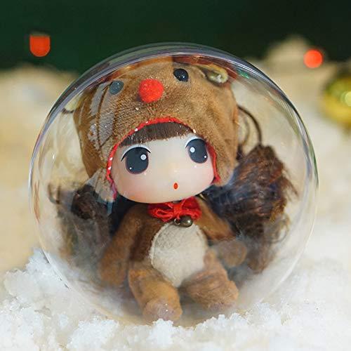 Ddung - Muñecas de Navidad de 3,5 pulgadas, mejor regalo para niñas, vestido de muñeca con caja de regalo, muñeca princesa con accesorios completos, el alce
