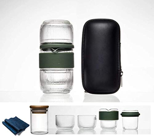 FGDSA Water Bottle Travel Bag Chinese Tea Set Gaiwan Teapot Teacups Glass Fair Mug Tea Sets