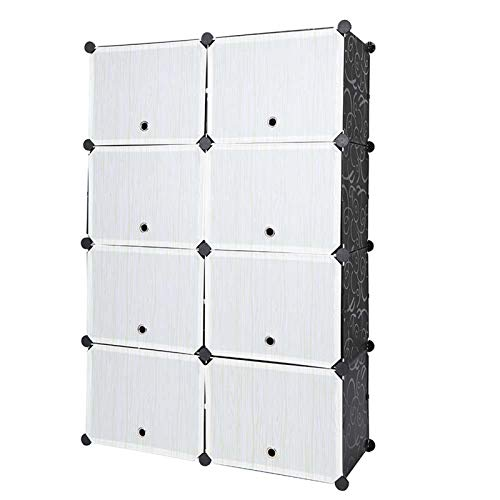 Cikonielf Zapatero Modular 8 Cubos y 12 Compartimentos, Estantería de Módulos de Plástico DIY, Armario de Zapatos por Módulos