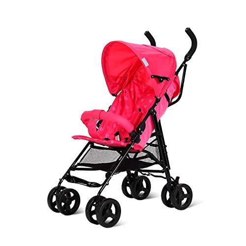 BLWX - Poussette légère Pliante Portable pour bébé Poussette légère Wagon Poussette (Couleur : Red)