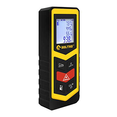 BOLTHO Laser Measure 40M 131Ft Laser Distance Meter, Portable High Precision and Backlight LCD Display, Measure Distance, Area and Volume, Pythagorean Mode Battery Included
