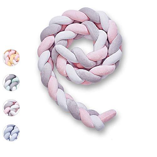 Bettumrandung, Wuudi Länge 2M Bettschlange Baby Nestchen Weiche Geflochtene Stoßfänger Dekoration für Krippe Kinderbett (Grau + Weiß + Rosa)