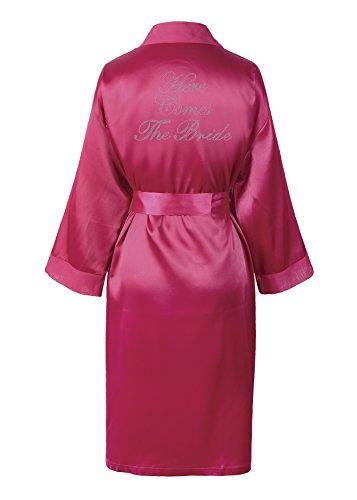 CrystalsRus Pink Varsany Hochzeitstag Strass Satin Hier kommt die Braut Bademantel individueller Flitterwochen Morgenmantel