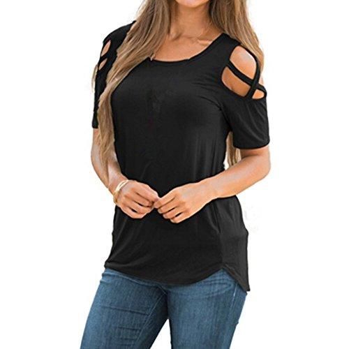 FAMILIZO Camisetas Mujer Verano Blusa Mujer Elegante Camisetas Mujer Manga Corta Algodón Camiseta Mujer Camisetas Mujer Fiesta Camisetas Sin Hombros Mujer Camisetas Mujer Tallas Grandes (M, Negro)