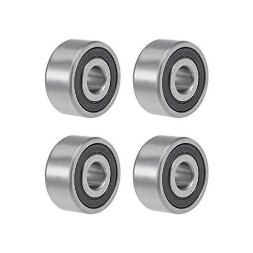 Rodamiento de bolas de garganta profunda, 10 mm x 30 mm x 14 mm, acero cromado doble sellado, Z2 ABEC1, 4 unidades