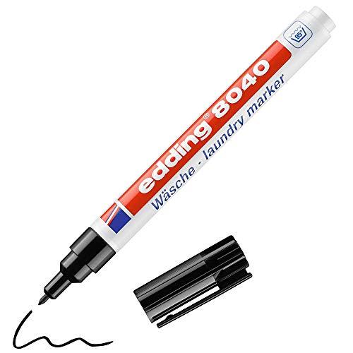Edding 8040 marcador textil - negro - 1 rotulador para ropa - punta redonda de 1mm - marcador para etiquetar prendas, resistente a lavados de hasta 95°C