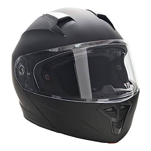 HOMCOM Casco de Moto Integral Talla XL-60 cm Casco de Motocicleta con Doble Visera Cabezal Anticolisión y Ventilaciones con Certificación Europea Unisex Color Negro