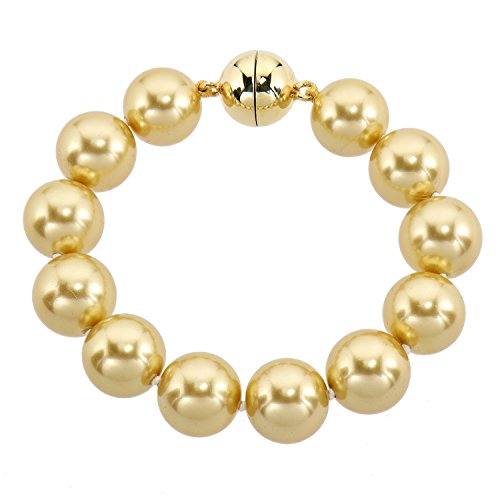 Pfeffinger Damen Armband Sterling-Silber 925 vergoldet Südsee-Muschelkernperlen Magnetschließe 22cm