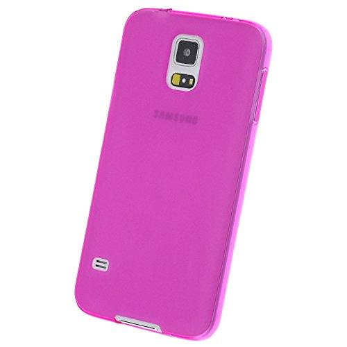 doupi PerfectFit Funda Compatible con Samsung Galaxy S5 (S5, S5 Duos, S5 Plus, S5 LTE, S5 Neo), Tapones de Polvo instalados TPU Ligero Estuche Protección, Rosa