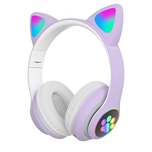 WK LIFE K8 Kids Headphones With Mic for Girls/Boys Birthday Gifts Cat Ear Bluetooth Headphones, Foldable LED Light Up Headphones Over On Ear and Micro SD Card Slot for Online Learning/School/Travel/Tablet (Purple)