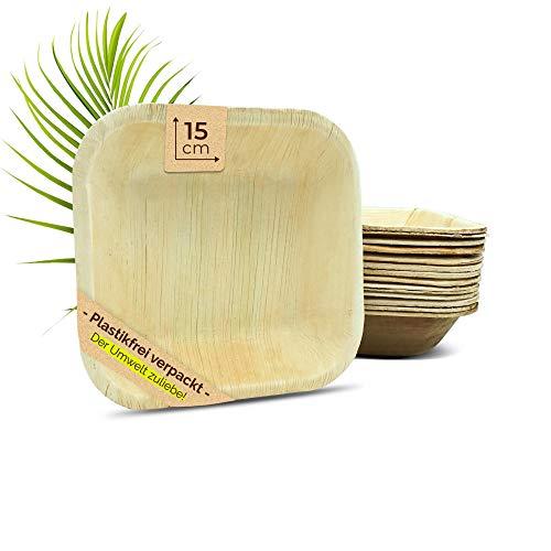 The Green Matter Einweg Suppenschale/Snackschale aus Palmblatt, eckig, 25 Stück, 15 x 15 x 4 cm, kompostierbar, Salat-Schüssel Dipschalen Servierschale Einwegschale Partygeschirr Einweggeschirr