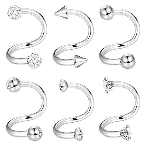 ORAZIO 6PCS 16G Spiral Barbell Cartilage Earrings Twist Ear Lobe Helix Tragus Nose Piercing Body Jewelry 8mm
