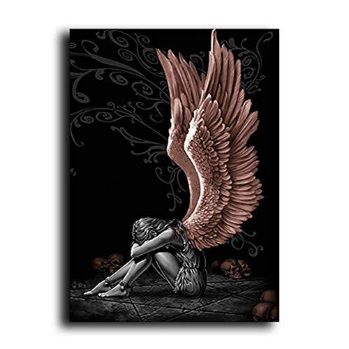NRRTBWDHL Engel und Dämonen Leinwand Malerei Grau Charakter Flügel Schädel Poster Drucken Wandkunst Bild-50X70Cm Massivholz Innenrahmen