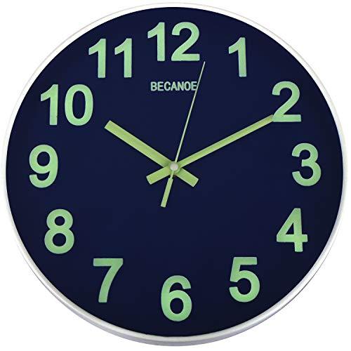 Leuchtend Wanduhr 12 Zoll Blau Nicht ankreuzen Leise Quarz Runden Uhr Leicht zu lesen Zuhause/Küche/Büro/Schule