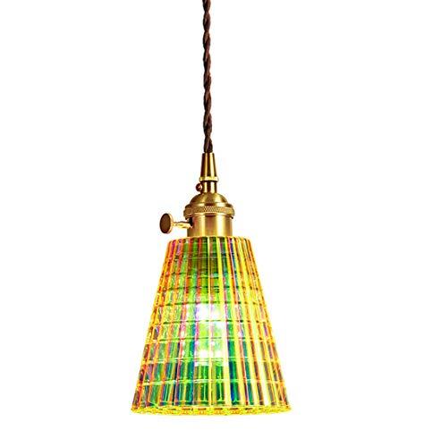 XODZASG Lampada a sospensione in vetro colorato, Portalampada in Rame puro, lampadina a LED E27,Per ristoranti cucina isola cafe bar(strisce griglia)