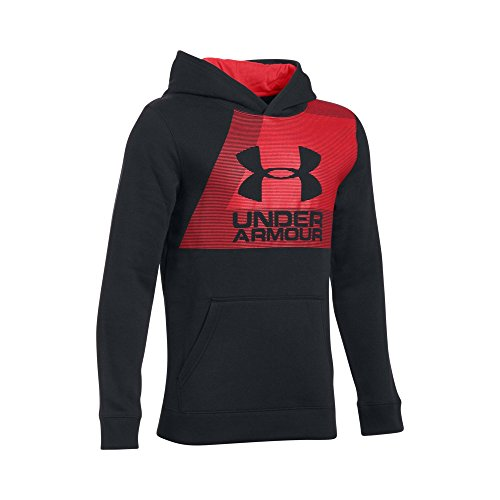 Under Armour Boys Rival Hoodie, Black /Red, Youth X-Large