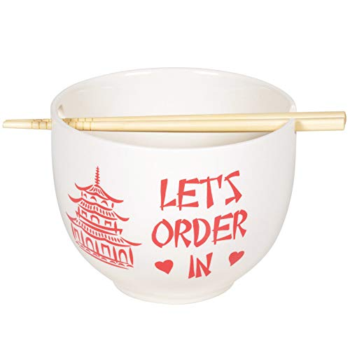 Enesco 6005728 Our Name is Mud Let's Order In Ramen Bowl and Chopsticks Set, 5.25 Inch, Red and White