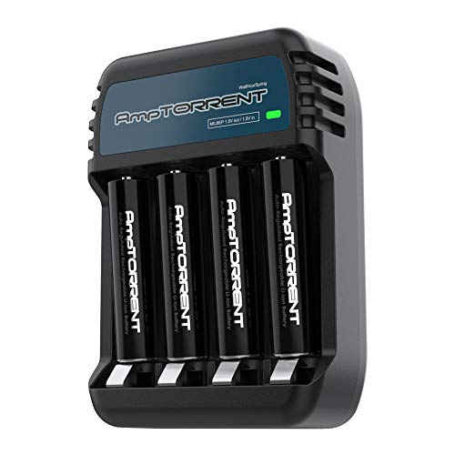AmpTorrent 1.5V AAA Rechargeable Lithium Batteries 1100mWh High Capacity, 1.8h Fast Charger, Triple A Batteries 4 Pack with Charger Set
