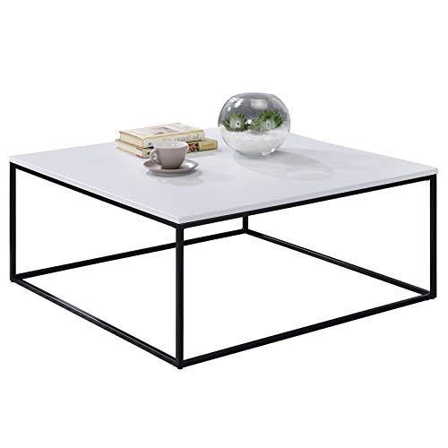 IDIMEX Couchtisch Sahara, Wohnzimmertisch Sofatisch Stubentisch quadratisch, Metallgestell in schwarz Tischplatte MDF in weiß, modernes Design