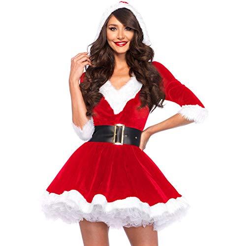 Sumshy Gonna Natalizia da Donna, Costume da Babbo Natale per Donna Cosplay Costume Carnevale Partito Vestito 【 Rosso Bianco, Taglia Unica 】 Vestito da Babbo Natale