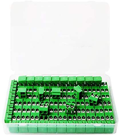 RUNCCI 100Pcs 2 Pin 5 mm Morsettiera di PCB Vite Connettore del Blocco Terminali