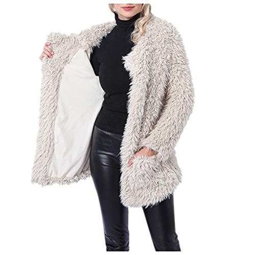 ZuzongYr Damen's Mäntel Chaqueta de invierno para mujer, cálida, gruesa, de felpa, con bolsillos, abrigo, larga, elegante, acolchada beige XXL